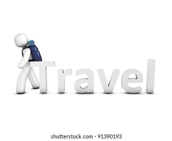 Creative concept 3d rendering Travel, isolated on white.
