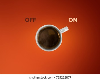 Creative concept of coffee cup. Cup off coffee as a switcher on red background.