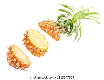 Creative concept with flying melon. Sliced melon isolated on white background. Levity fruit floating in the air