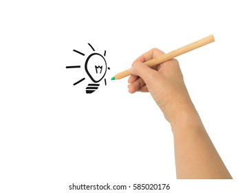 Creative concept with hand drawing light bulb which try to came out from paper as real.