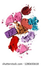 Creative concept photo of cosmetics swatches beauty products lipstick square eyeshadow on white background.