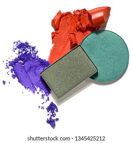 Creative concept photo of cosmetics swatches beauty products lipstick square and round eyeshadow on white background.