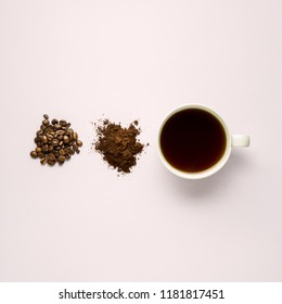 Creative concept photo of cup beans and instant coffee on grey background.