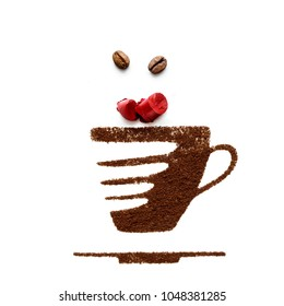 Creative concept photo of cup and lipstick made of coffee on white background.