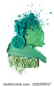 Creative concept photo of green cyan cosmetics swatches beauty products square and round eyeshadow on white background.