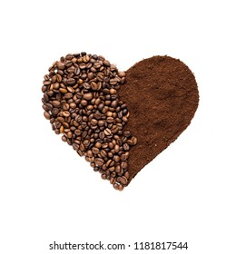 Creative concept photo of heart made of coffee on isolated background.