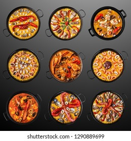 Creative concept photo of paella sea food  dishes on black background.