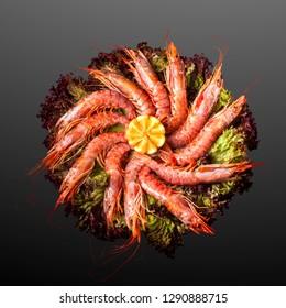 Creative concept photo of  sea food shrimps prawns on plate of salad on black background.