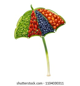 Creative concept photo of umbrella made of fruits and vegetables on white background.