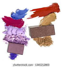 Creative concept set photo of cosmetics swatches beauty products lipstick square eyeshadow on white background.
