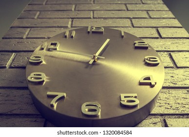 Creative concept of wall clocks, time ahead, clock or time on the background of brick wallчасы,  retro style