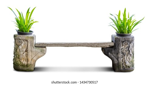 Creative concrete chair transform to pot of houseplant for garden decoration isolated on white background with clipping path
