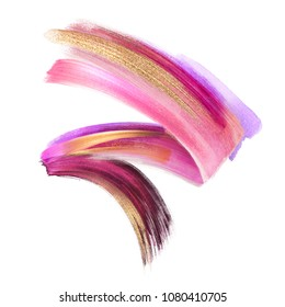 creative cosmetics brush stroke clip art isolated on white background, dynamic watercolor smear, golden yellow blush pink paint texture, acrylics, grunge, glitter, shimmer, make up, cosmetics