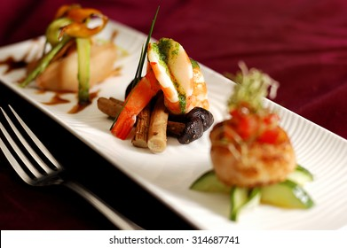 Creative Cuisine Appetizer Shrimp Seafood. Shrimp appetizers during a party.
