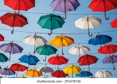 Creative decorative background from color umbrella above the street in Antalya, Turkey