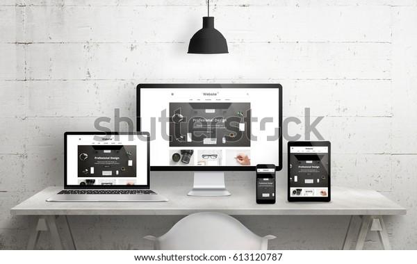 Creative Decks Szene für Web Design Agentur Promotion. Moderne, saubere Website-Werbung auf verschiedenen Geräten. Designer Studio-Schreibtisch-Vorderansicht.