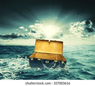 creative design of box lost on the sea
