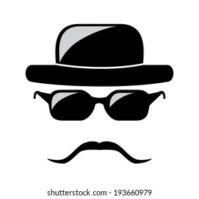 Creative design with hat, glasses and mustache.