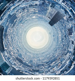 Creative design idea concept - circle panoramic modern city skyline aerial view under blue sky in Tokyo, Japan