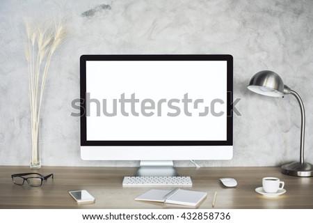 creative desktop blank white computer monitor stock photo edit now