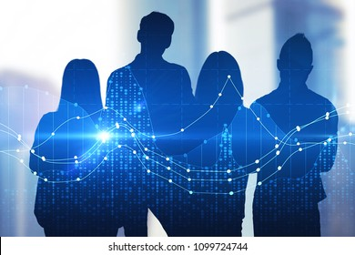 Creative digital crowd silhouettes on bright city background. Teamwork and finance concept. Double exposure