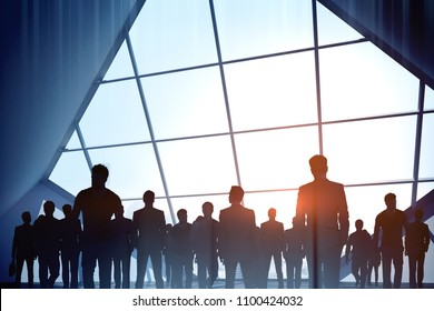 Creative digital crowd silhouettes on bright city background. Teamwork and occupation concept. Double exposure