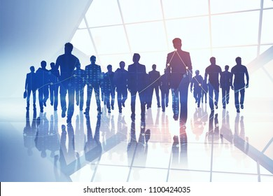 Creative digital crowd silhouettes on bright city background. Teamwork and money concept. Double exposure