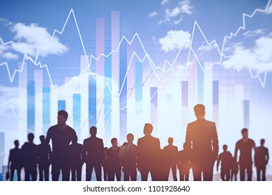Creative digital crowd silhouettes on bright city background. Teamwork and forex concept. Double exposure