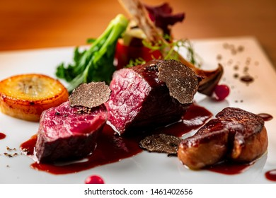 Creative dish of delicious beef steak