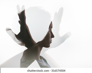Creative double exposure with portrait of young girl