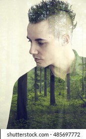 Creative double exposure portrait of young man combined with photograph of nature