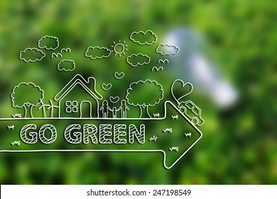 Creative drawing ecology concept on green grass background.