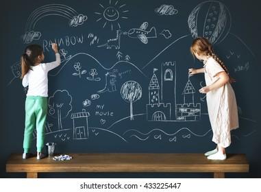 Creative Drawing Imagination Girl Blackboard Concept