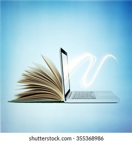 creative E-learning Concept. Book and Laptop.