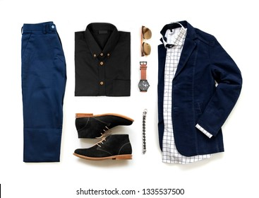 Creative fashion design for men casual clothing set with oxford shoes , watch, blue trousers, sunglasses, office shirt and jacket isolated on a white background, Top view