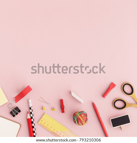 Creative, Fashionable, Minimalistic, School Or Office Supplies On A Pink  Background. Flat