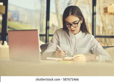 Creative female copywriter making text for advertising campaign and scripts for radio jingles and TV commercials noting best ideas to copybook before sending to ceo via email using laptop computer
