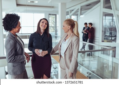 Creative female workers having conversation at office break