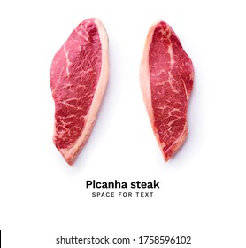 Creative flat lay with black angus prime picanha beef steak isolated on white background with copy space
