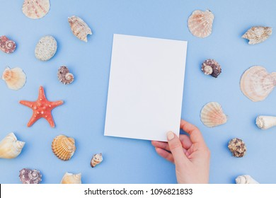 Creative flat lay concept of summer travel vacations. Top view of seashells and starfish on pastel blue background with postcard mock up and copy space in minimal style, template for text