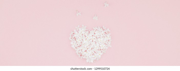 Creative flat lay concept top view of white lilac flowers petals heart on pastel pink background with copy space in minimal style, template for love valentine cards, text or design