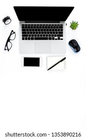 Creative flat lay photo of modern workplace with laptop, top view laptop background and copy space on white background, Above view shot of Computers on white background