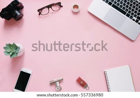 7a21de96e4 Creative Flat Lay Workspace Desk Office Stock Photo (Edit Now ...
