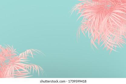 Aménagement créatif fluorescent en feuilles tropicales roses. Couleurs de néon pastel laqué et plat. Le concept de la nature.  Contexte estival minimal.