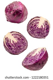 creative flying vegeteable. Red cabbage slices flying isolated on white background. Clipping Path. Levity vegetable