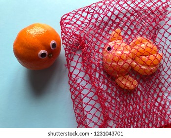 Creative food concept, depicting plastic pollution in the sea. A googly eyed orange looking at a googly eyed goldfish made from orange segments, trapped in a red plastic net bag on a blue background.