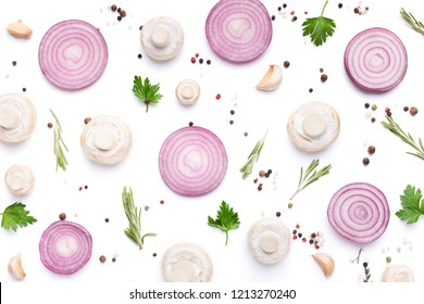 Creative food minimalism. Fresh champignon mushrooms with parsley, peppercorns and purple onion slices on white background, top view