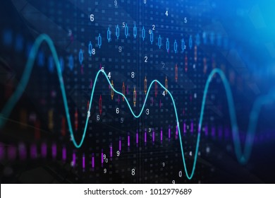 Creative forex chart backdrop. Investment and trade concept. Double exposure