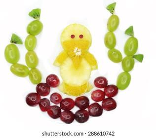 creative fruit dessert for child funny form nestling bird