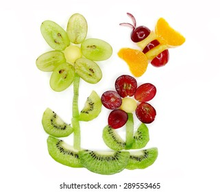 creative fruit dessert for child funny form bee gathering pollen on the flower